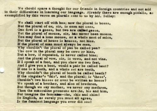 7905 Gedicht Over Onregelmatige Meervoudsvormen In De Engelse Taal